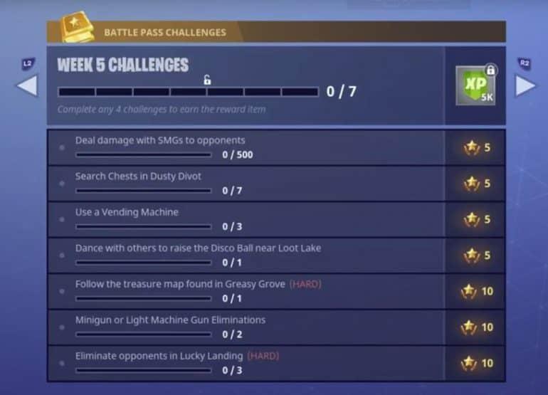 Fortnite Season 4 Week 5 Challenges