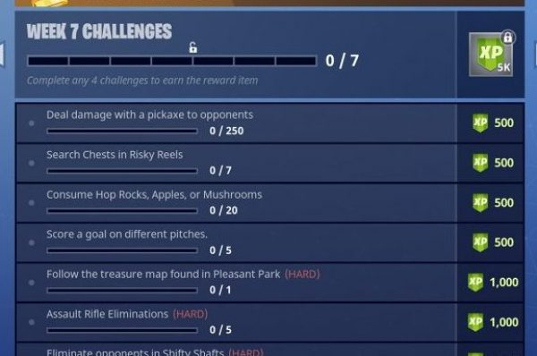 Fortnite Season 4 week 7 challenges